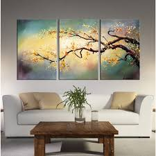 hand painted x27 yellow plum blossom x27 3 piece on 3 piece wall art canada with shop hand painted yellow plum blossom 3 piece gallery wrapped
