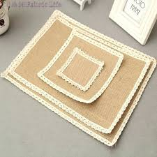 4 diffe sizes jute cloth linen fabric square table mat cup coaster accessory for wedding rug casual natural fiber hand woven blue jute rug square