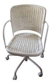 White Rolling Chair White Wicker Rolling Desk Chair Chairish