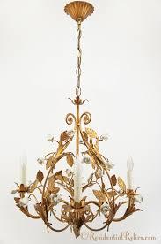 italian gilt chandelier with white ceramic roses circa 1950s