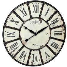 metal wall clock roman numerals vintage oh clocks skeletal large