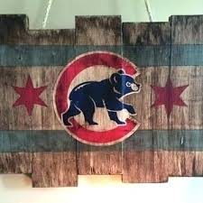 wall cubs art w wooden stained flag baseball decor man metal