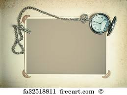 Vintage Photo Album Page Free Art Print Of Retro Album Page With Vintage Clock With Chain