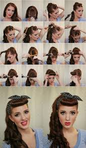 easy simple pin up cascading pony with bangs updos hairstyle tutorial these are simple easy to follow retro hair tutorial 1940 s 50 s