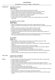Chemistry Resume Qc Chemist Resume Samples Velvet Jobs 8