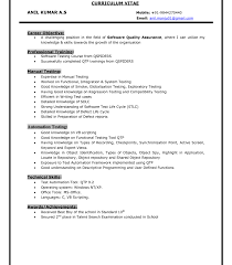 Outstanding Manual Testing Sample Resume For 1 Year Experience Qa