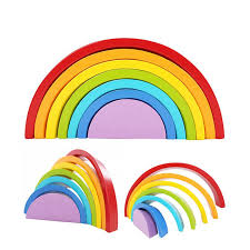 <b>7Pcs</b>/<b>Lot Colorful Wood Rainbow</b> Building Blocks Toys Colour Sort ...