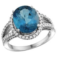 10k white gold natural london blue topaz ring oval 12x10mm diamond accents sizes 5 10