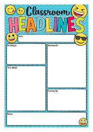 Date Chart For Classroom Emoji Classroom Headlines Smart Chart Top Notch Teacher