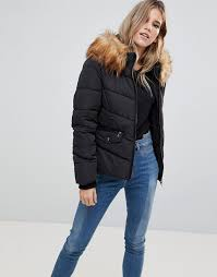 Only   Only Sanna Short Quilted Jacket with Faux Fur Trim &  Adamdwight.com