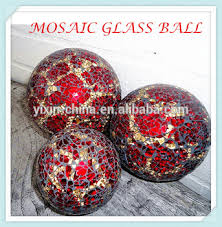 Glass Balls For Decoration Red With Silvery Garden Yard Glass Decor Gazing Mosaic Large 70