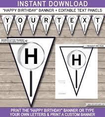 secret agent party banner template happy birthday bunting pennants editable and printable diy