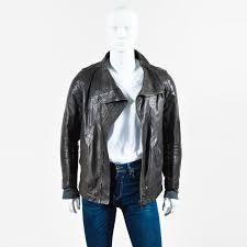 rick owens men s black grained leather long sleeve moto jacket