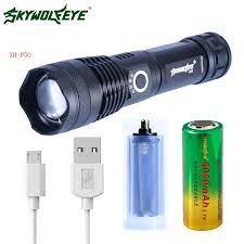 Zoomable Led đèn pin xhp50 usb sạc Sử Dụng 26650 18650 Săn pin Phiêu Lưu  Ban Đêm đi bộ Mạnh Mẽ led đèn pin Chiến Thuật LED Flashlights
