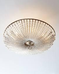 beaded crystal six light semi flush ceiling fixture