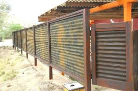 sheet metal fence ideas fence decorations metal custom made corrugated metal wood fence privacy patina rust