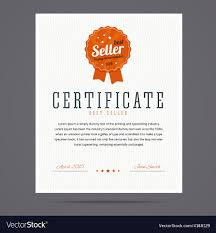 Best Seller Certificate With Stamp Royalty Free Vector Image