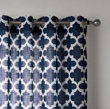 Navy Blue Bedroom Curtains Navy Blue Geometric Curtains
