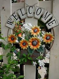 metal rustic welcome sunflower watering can garden wall hanging sign home decor