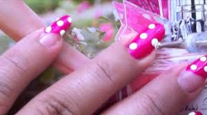 nail art: pink with white polka dots - YouTube