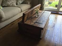 rustic chunky coffee table storage