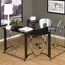furniture awesome modern desks for small spaces teamne interior in l shaped black glass desk