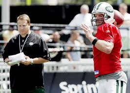 tom brady out bill belichick s brain battles brett favre  armed brett favre as his quarterback jets coach eric mangini l
