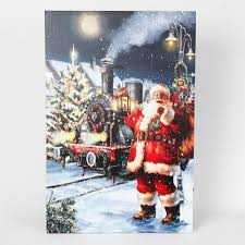 Canvas Christmas Prints With Led Lights Winsome House 24 In Winter Wonderland Santa Print With Led Lights