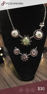 sun moon and bloom statement necklace brand new double pla rhodium free of nickel and lead stunning and versatile with the change of snaps