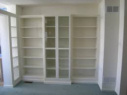 Premade Built In Bookcases Custom Display Wall Using Ikea Billy Bookcases Heartworkorgcom