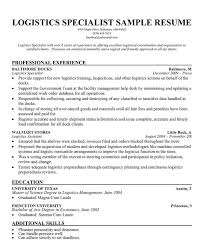Logistics Specialist Resume Sample Ideas