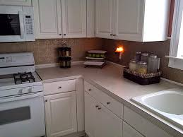 Textured Wallpaper For Kitchen Backsplash With Wooden Wall Cabinet White  Kitchen Appliances Granite Countertop And Canisters
