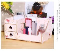 diy multifunctional wooden cosmetic desktop storage box make up organizer