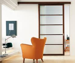 home decor with wingback chair and swing arm table lamp also sliding room dividers with wall art and wood flooring plus frosted glass closet doors with