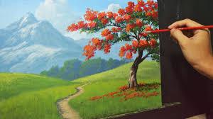 acrylic landscape painting lesson the fire tree by jmlisondra you