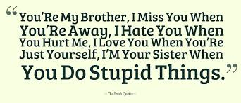 I Love My Brother Quotes Awesome You'Re My Brother I Miss You When You'Re Away I Hate You When You