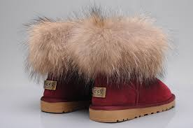 UGG Fox Fur Mini Boots 5854 Wine Red