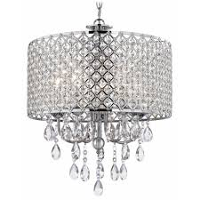 crystal chrome chandelier pendant light with crystal beaded drum