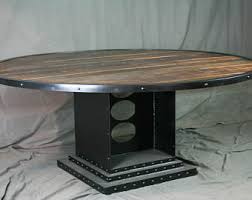 minimalist modern industrial office desk dining. Vintage Industrial Round Dining Table - Reclaimed Wood Conference Urban Style Office Minimalist Modern Desk I