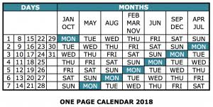 one page calender one page calendar 2018