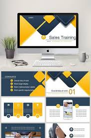 Sales Training Template Yellow Blue Color Profile Business Style Sales Training Ppt