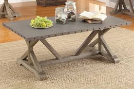 Metal Coffee Table with Nailhead Accents