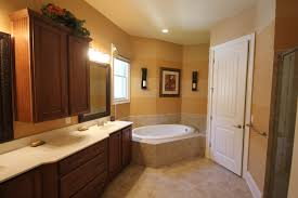 Classy Dark Brown Wooden Vanity White Top Also Rounded White Tubs As Well  As Neutral Brown Bathroom Painting Ideas Also White Doors Ideas