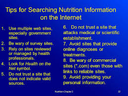 tips for searching nutrition information on the internet
