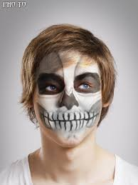 skull photo editor to add creepy and realistic skull makeup to photo