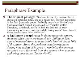 paraphrasing a paraphrase is a restatement of someone else s ideas  paraphrase example