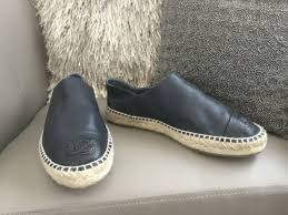 authentic chanel espadrilles genuine leather black 38 2017 double sole for
