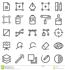 Graphic Design Software Icons Graphic Design Software And More Thin Line Icons Set Stock
