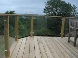 wooden deck with glass barade deck railing glass deck rails