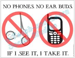 No Cell Phone Sign Printable No Phones And No Earbuds Three 8 5 X 11 Printable Posters